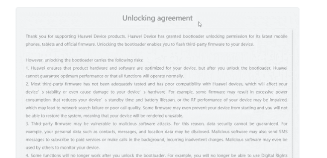 Huawei/Honor Unlock Agreement Page