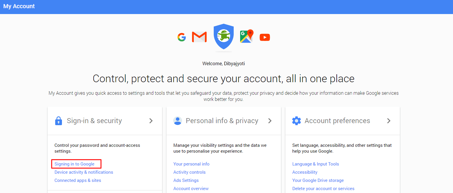2-Step Verification My google account login