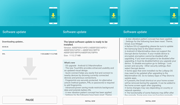 Galaxy A8 A800FXXU1BPF5 Marshmallow update is now available