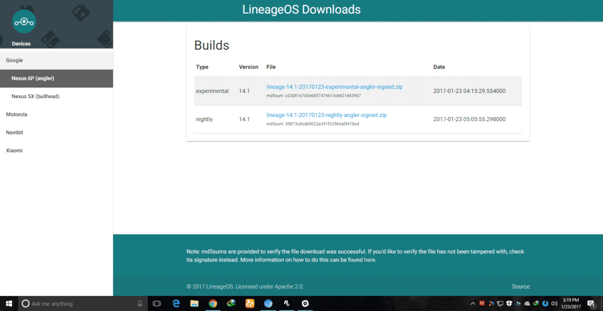 LineageOs official build