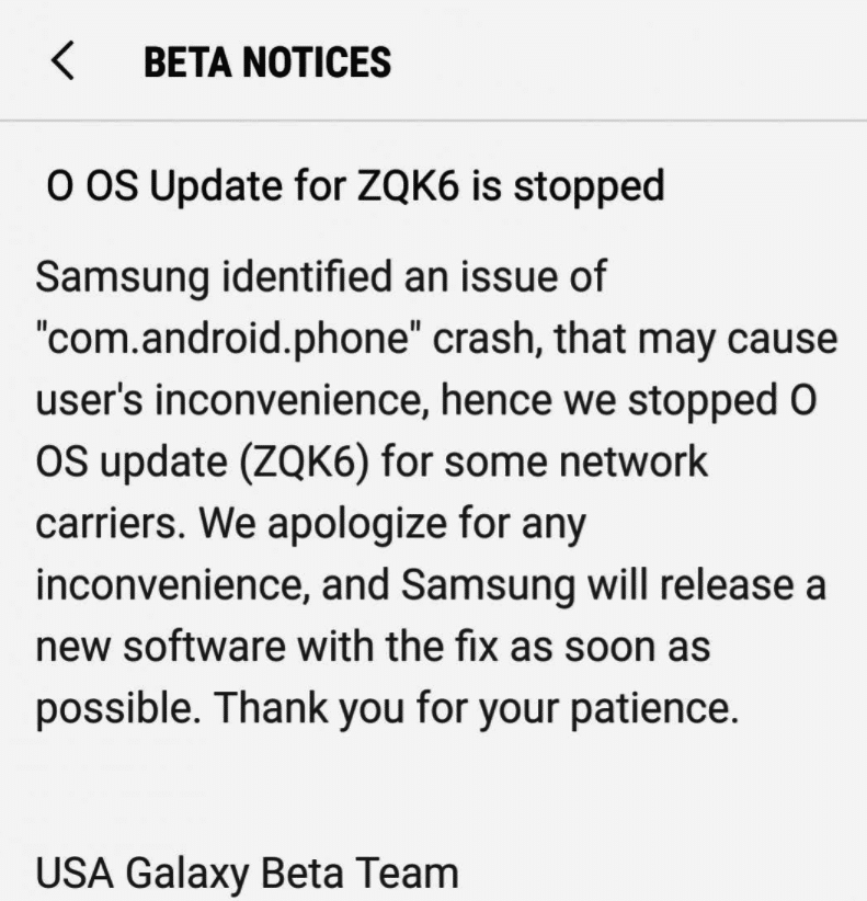 Samsung Galaxy S8 Oreo Beta 3 Update