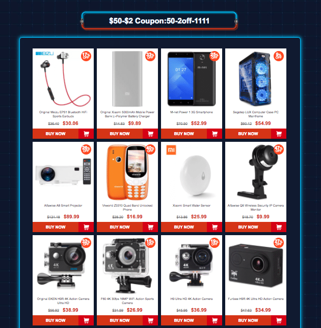 Category 2: Gearbest 11.11 sale offers Coupons up to $45 off