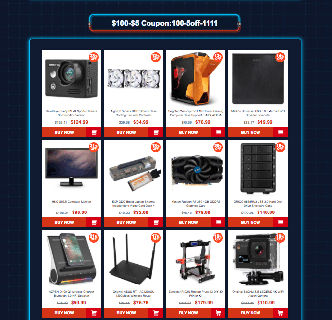 Category 4: Gearbest 11.11 sale offers Coupons up to $45 off