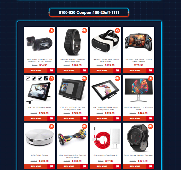Category 5: Gearbest 11.11 sale offers Coupons up to $45 off