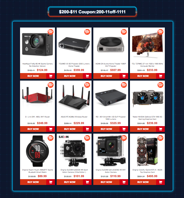 Category 6: Gearbest 11.11 sale offers Coupons up to $45 off