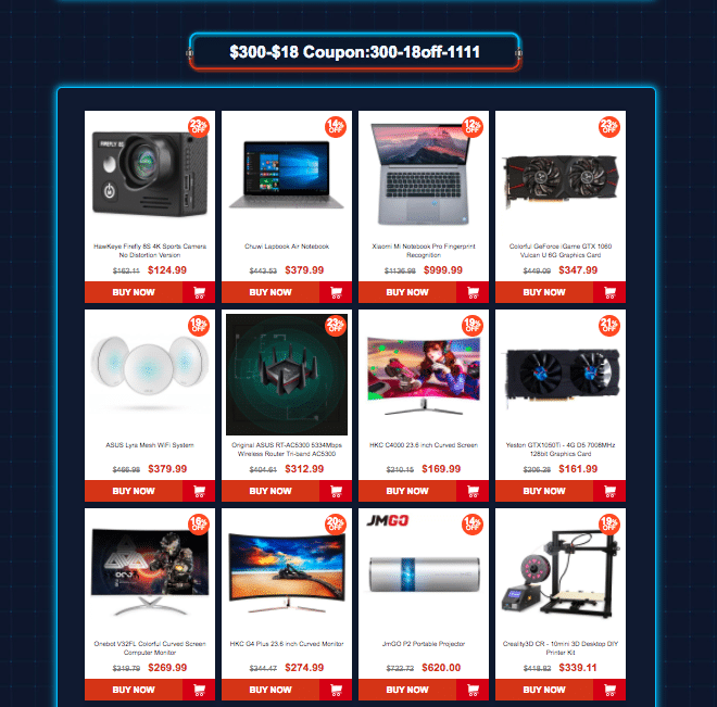 Category 9: Gearbest 11.11 sale offers Coupons up to $45 off