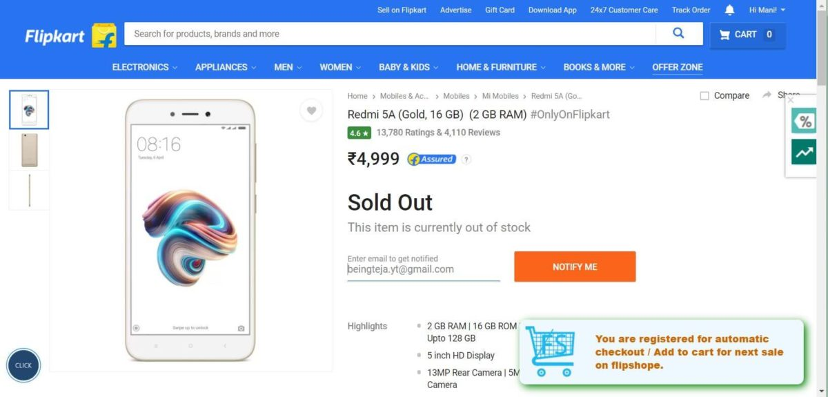 Now go to Flash sale option, here you will find Redmi 5A Flash Sale Auto Buy option