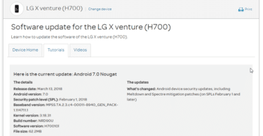 AT&T LG X venture H70010l February 2018 Security Patch (OTA Update)