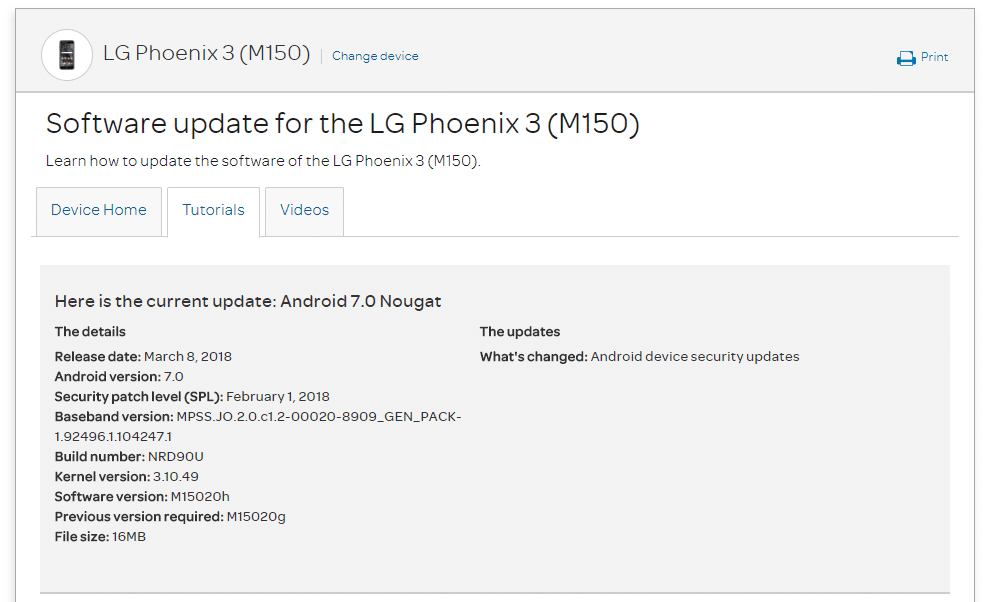 AT&T LG Phoenix 3 M15020h February 2018 Security Patch (OTA Update)