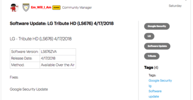 Sprint LG Tribute HD LS676ZVA April 2018 Security Patch (OTA Update)