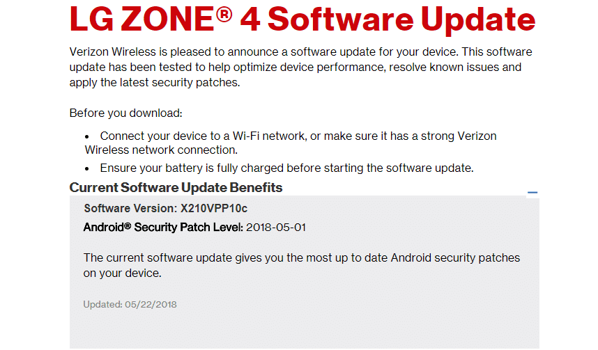 Verizon LG Zone 4 X210VPP10c May 2018 Security Patch (OTA Update)