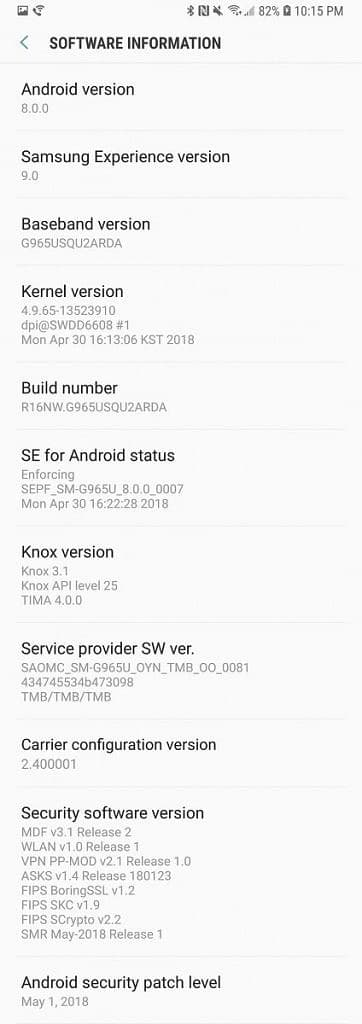 Download Galaxy S9 and S9 Plus  G960USQU2ARDA and G965USQU2ARDA May 2018 Security Update
