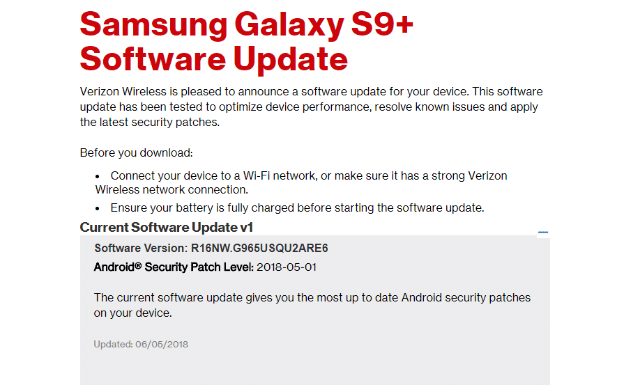 Verizon Galaxy S9 Plus G965USQU2ARE6 May 2018 Security Patch