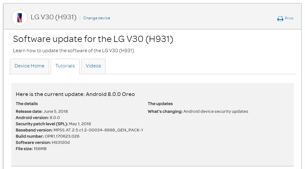 AT&T LG V30 H93120d May 2018 Security Patch Update (Oreo)