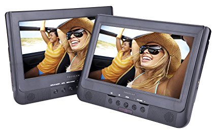 Image result for Sylvania SDVD1037 10-Inch Dual Screen DVD Player with USB Card Slot, Remote Control and Car Seat Mount