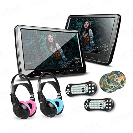 Image result for XTRONS 2 x 10.1 Inch Twins HD Digital Screen Car Headrest DVD Player Ultra-thin Detachable Touch Button HDMI Port with One Pair of Children IR Headphones(Blue & Pink)